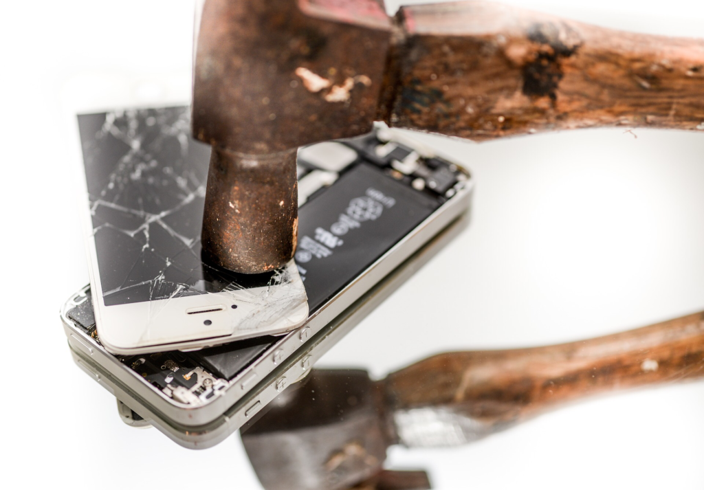 Phone smashed with a hammer